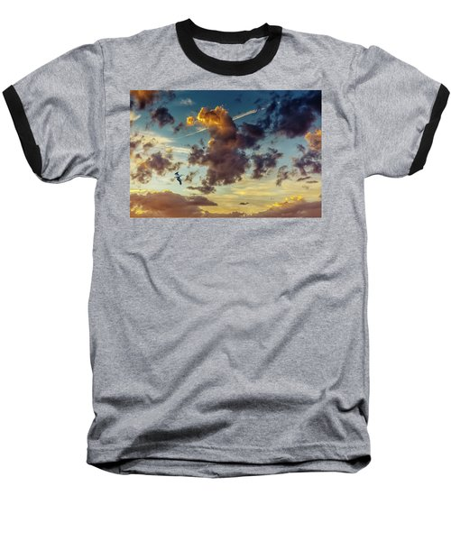 Birds In Flight At Sunset Baseball T-Shirt