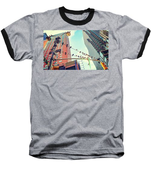Birds In New York City Baseball T-Shirt