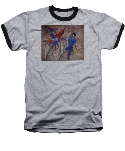 Birds On A Mayan Wall Baseball T-Shirt