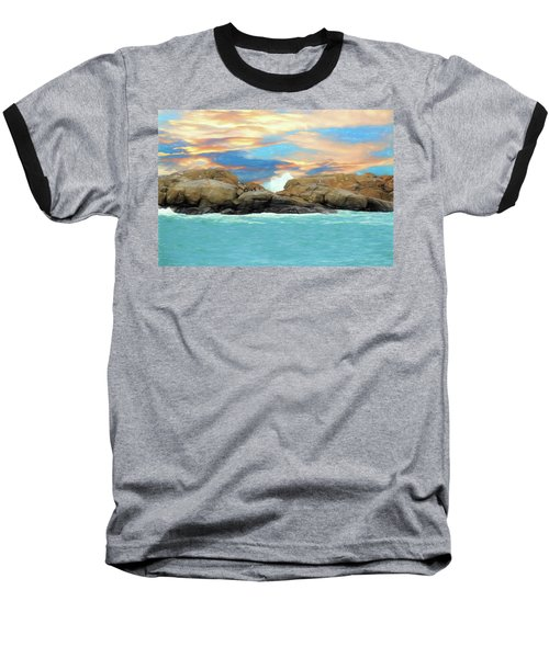 Birds On Ocean Rocks Baseball T-Shirt