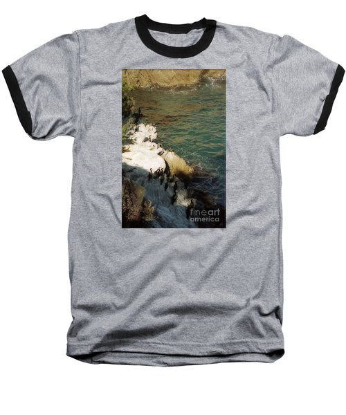 Birds On Rock Above Pacific Ocean Baseball T-Shirt by Ted Pollard