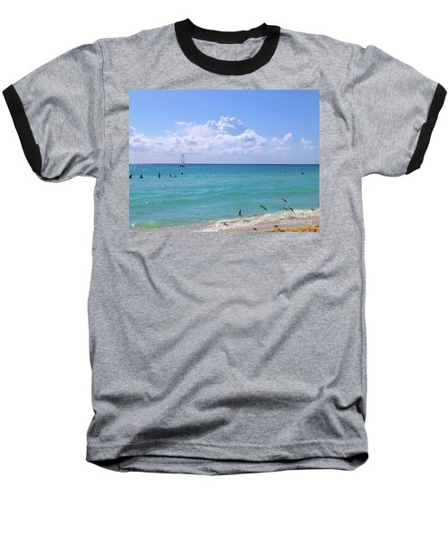 Baseball T-Shirt featuring the photograph Birds On The Beach M4 by Francesca Mackenney