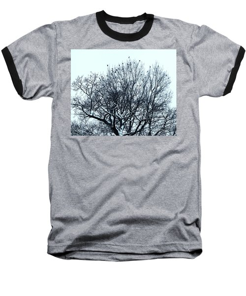Birds On The Tree Monochrome Baseball T-Shirt