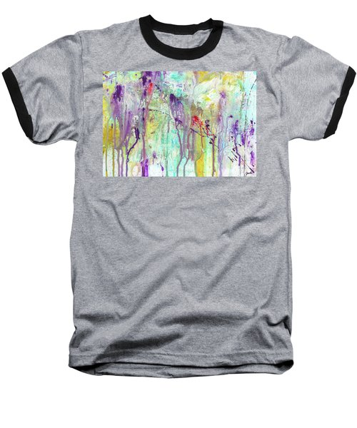 Birds On The Wire - Colorful Bright Modern Abstract Art Painting Baseball T-Shirt