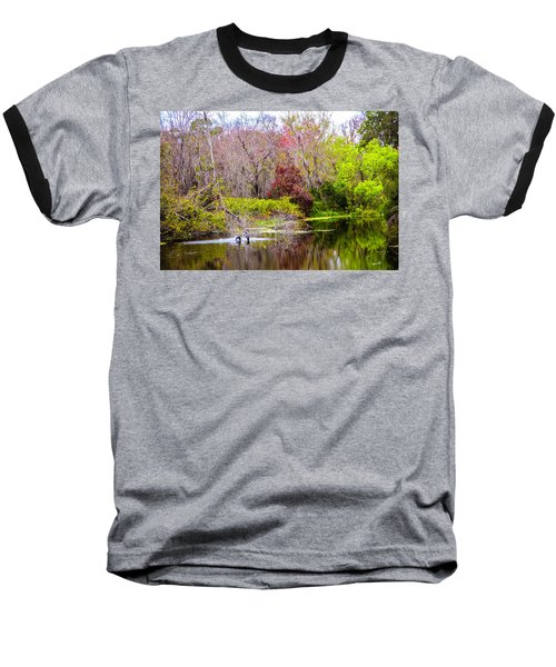 Baseball T-Shirt featuring the photograph Birds Playing In The Pond 3 by Madeline Ellis