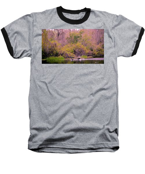 Baseball T-Shirt featuring the photograph Birds Playing In The Pond 2 by Madeline Ellis