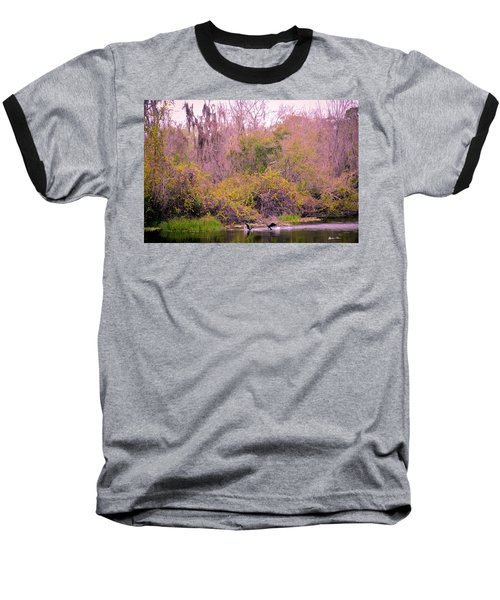 Baseball T-Shirt featuring the photograph Birds Playing In The Pond 1 by Madeline Ellis