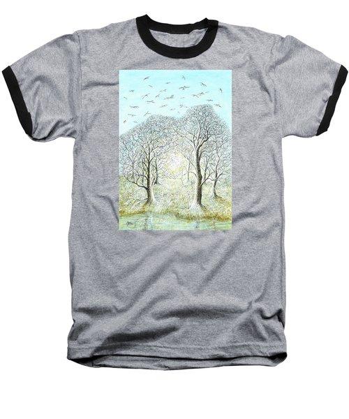 Birds Swirl Baseball T-Shirt by Charles Cater