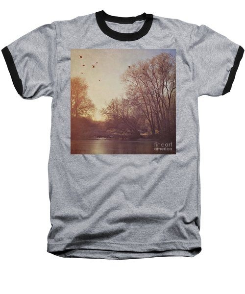Baseball T-Shirt featuring the photograph Birds Take Flight Over Lake On A Winters Morning by Lyn Randle