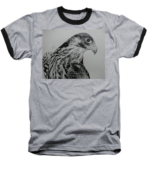 Baseball T-Shirt featuring the drawing Birdy by Melita Safran