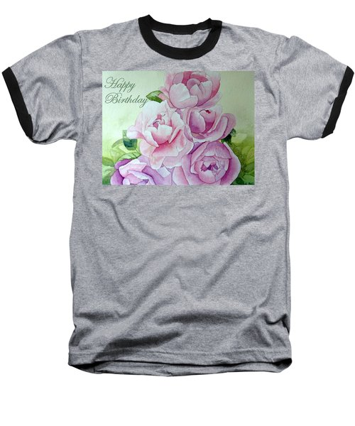 Birthday Peonies Baseball T-Shirt by Laurel Best
