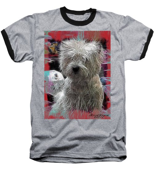 Baseball T-Shirt featuring the photograph Bishon Frise by EricaMaxine  Price
