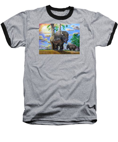 Baseball T-Shirt featuring the painting Bison Acrylic Painting by Thomas J Herring