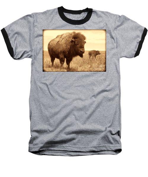 Bison And Calf Baseball T-Shirt