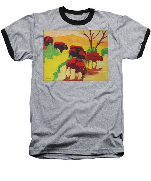 Bison Art Bison Crossing Stream Yellow Hill Painting Bertram Poole Baseball T-Shirt by Thomas Bertram POOLE