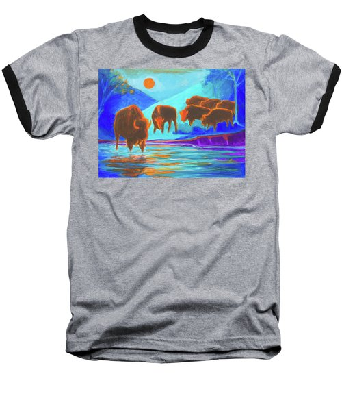 Bison Art - Seven Bison At Sunrise Yosemite Painting T Bertram Poole Baseball T-Shirt by Thomas Bertram POOLE