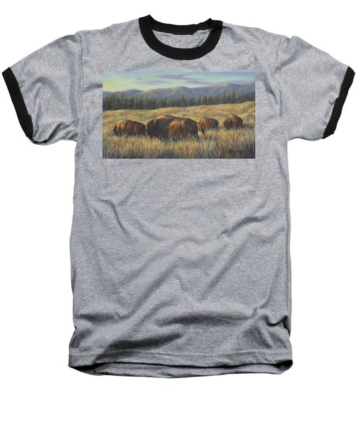 Baseball T-Shirt featuring the painting Bison Bliss by Kim Lockman