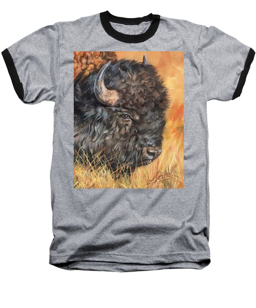 Baseball T-Shirt featuring the painting Bison by David Stribbling
