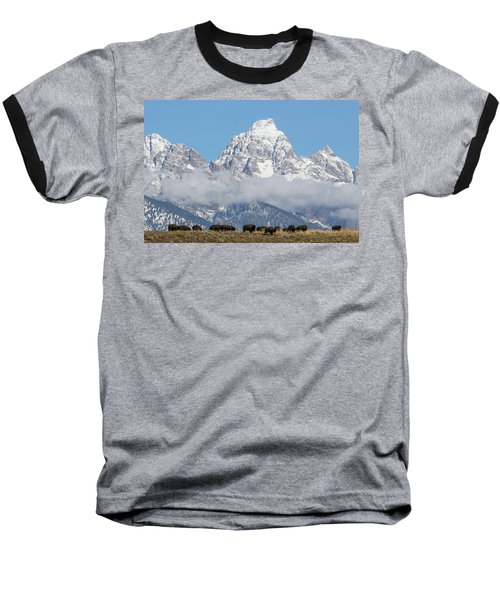 Baseball T-Shirt featuring the photograph Bison In The Tetons by Wesley Aston