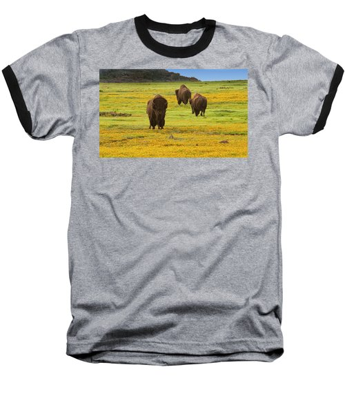 Bison In Wildflowers Baseball T-Shirt