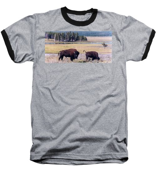Bison In Yellowstone Baseball T-Shirt