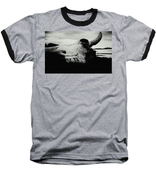 Bison Skull Black White Baseball T-Shirt