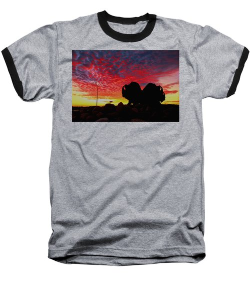 Baseball T-Shirt featuring the photograph Bison Sunset by Larry Trupp