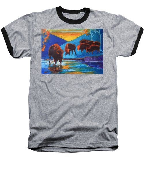Bison Turquoise Hill Sunset Acrylic And Ink Painting Bertram Poole Baseball T-Shirt by Thomas Bertram POOLE