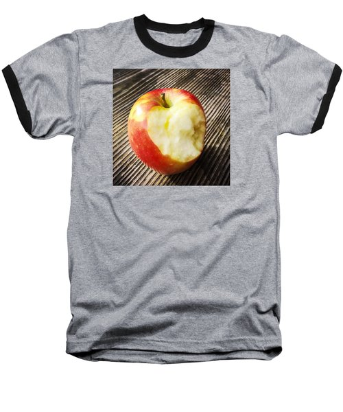 Bitten Red Apple Baseball T-Shirt