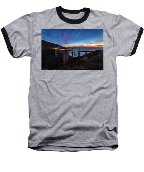 Bixby Bridge Sunset Baseball T-Shirt