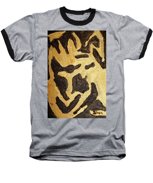 Baseball T-Shirt featuring the painting Black And Gold Mask by Shea Holliman