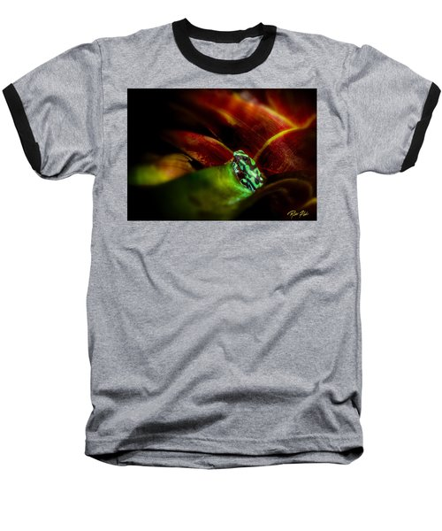 Baseball T-Shirt featuring the photograph Black And Green Dart Frog In The Red Bromeliad by Rikk Flohr