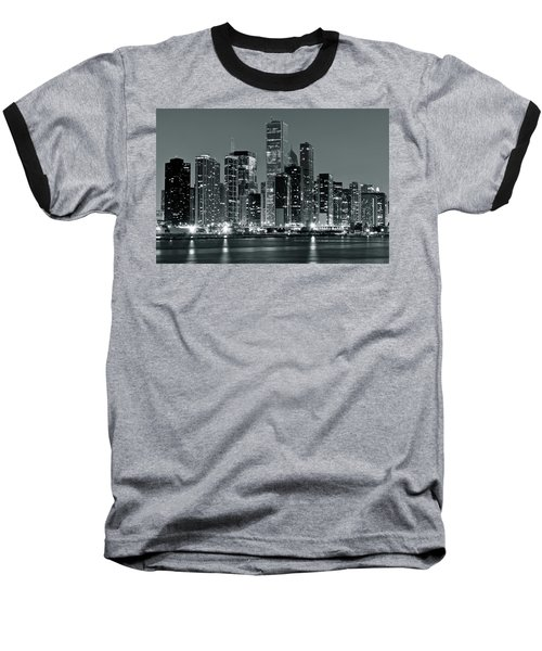 Baseball T-Shirt featuring the photograph Black And White And Grey Chicago Night by Frozen in Time Fine Art Photography