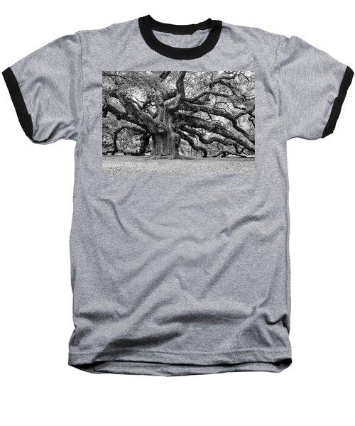 Black And White Angel Oak Tree Baseball T-Shirt