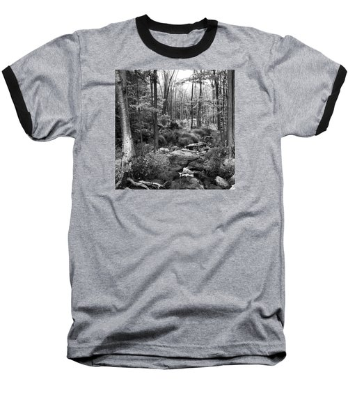 Black And White Babbling Brook Baseball T-Shirt by Jason Nicholas