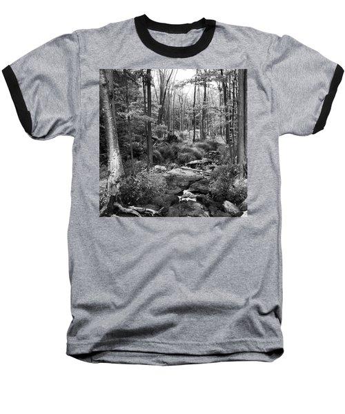 Black And White Babbling Brook Baseball T-Shirt