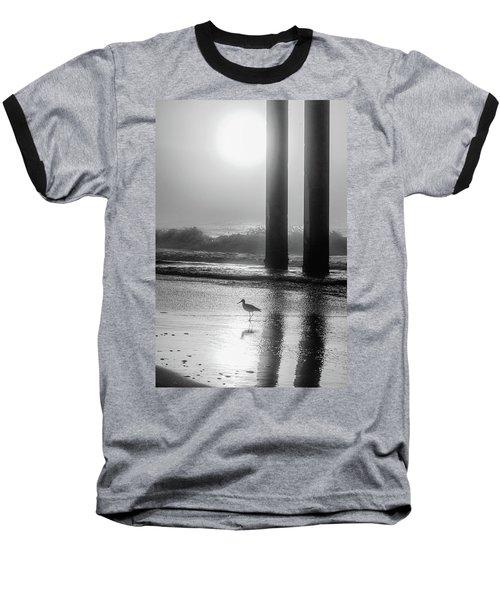 Baseball T-Shirt featuring the photograph Black And White Bird Beach by John McGraw