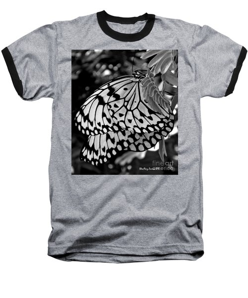 Black And White Butterfly Baseball T-Shirt