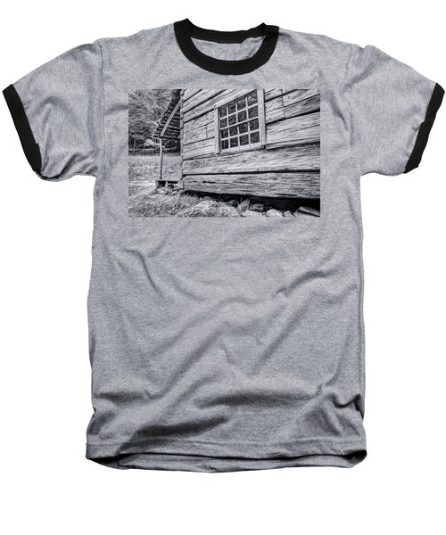 Black And White Cabin In The Forest Baseball T-Shirt