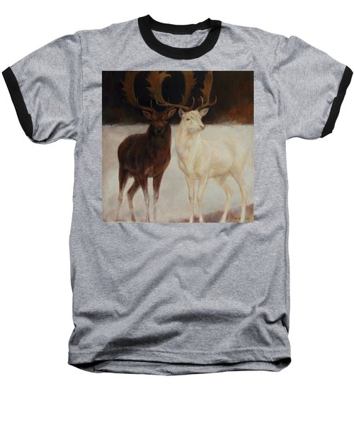 Black And White Fallow Deers Baseball T-Shirt