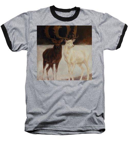 Black And White Fallow Deers Baseball T-Shirt