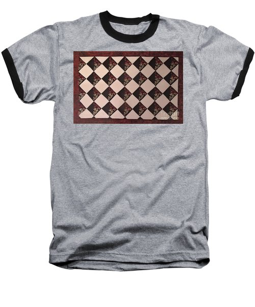 Black And White Checkered Floor Cloth Baseball T-Shirt