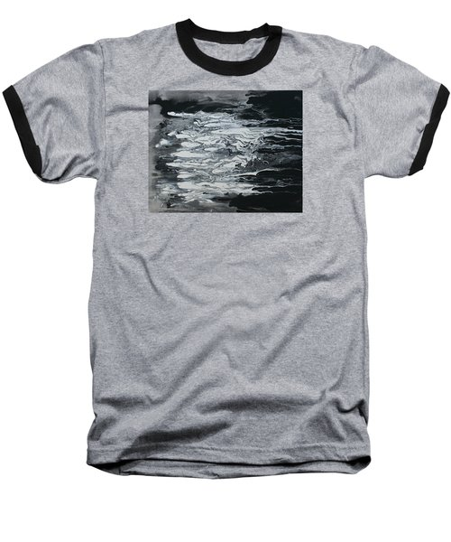 Black And White Fluid Painting Baseball T-Shirt