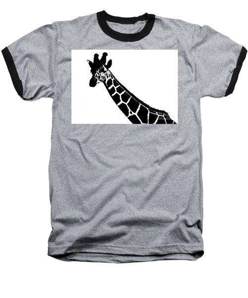 Black And White Giraffe Baseball T-Shirt by Maja Sokolowska