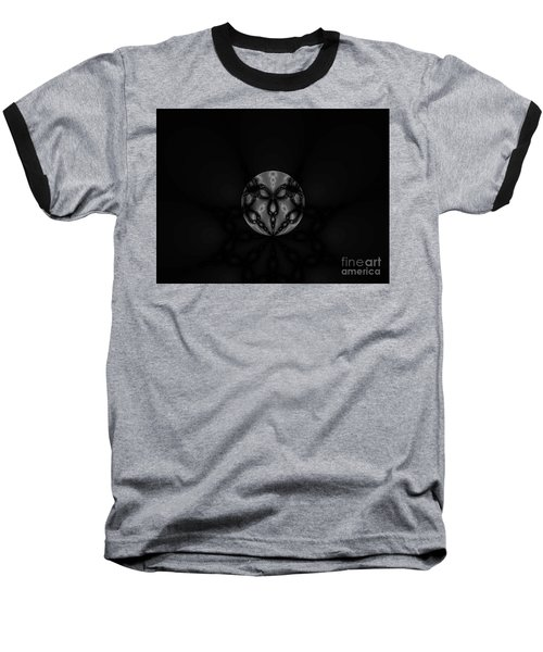 Black And White Globe Fractal Baseball T-Shirt