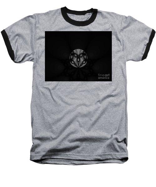 Black And White Globe Fractal Baseball T-Shirt