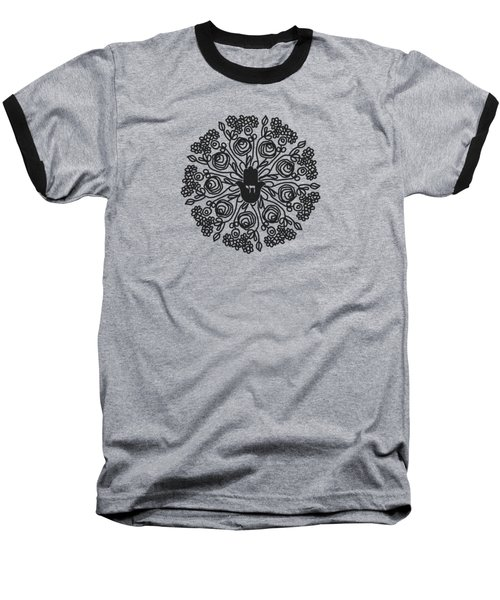 Baseball T-Shirt featuring the mixed media Black And White Hamsa Mandala- Art By Linda Woods by Linda Woods