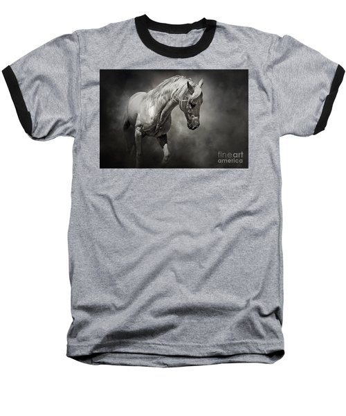 Black And White Horse - Equestrian Art Poster Baseball T-Shirt