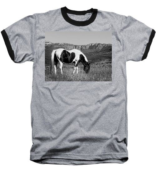 Black And White Horse Grazing In Wyoming In Black And White  Baseball T-Shirt