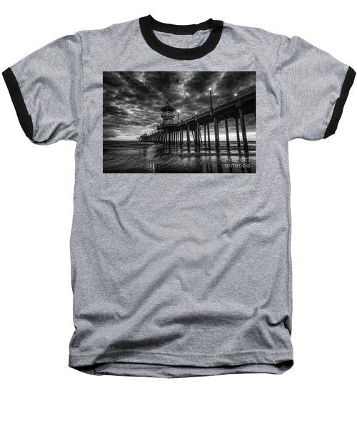 Black And White Huntington Beach Pier Baseball T-Shirt